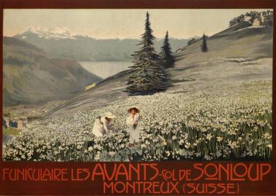 Montreux, Suisse, Funiculaire Les Avants-col de Sonloup, vers 1913. Lithographie couleur 68 x 99cm. © Tous droits réservés, auteur anonyme, lithographie Richter Cies, Napoli