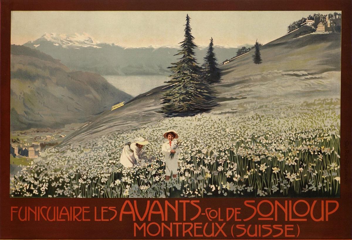 Montreux (Suisse), Funiculaire Les Avants - col de Sonloup, vers 1913. Lithographie couleur 68 x 99cm. © Tous droits réservés, auteur anonyme, lithographie Richter & Cie, Napoli. Galerie 1 2 3, Genève, www.galerie123.com