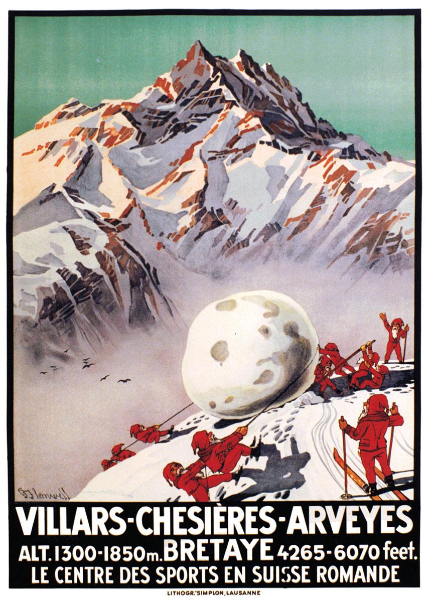 """Villars - Chesières - Arveyes - Bretaye, le centre des sports en Suisse Romande, vers 1928. Lithographie couleur 102 x 72cm. Georges Flemwell (1865 - 1928), lithographie """"Simplon"""", Lausanne. Galerie 1 2 3, Genève, www.galerie123.com"""