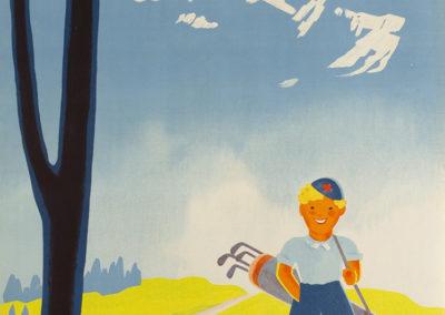 Villars Chésières-Bretaye, Suisse, 1938. Lithographie couleur 101 x 64cm. © Tous droits réservés, auteur anonyme, impression Paul Attinger, Neuchâtel. Galerie 1 2 3, Genève, www.galerie123.com