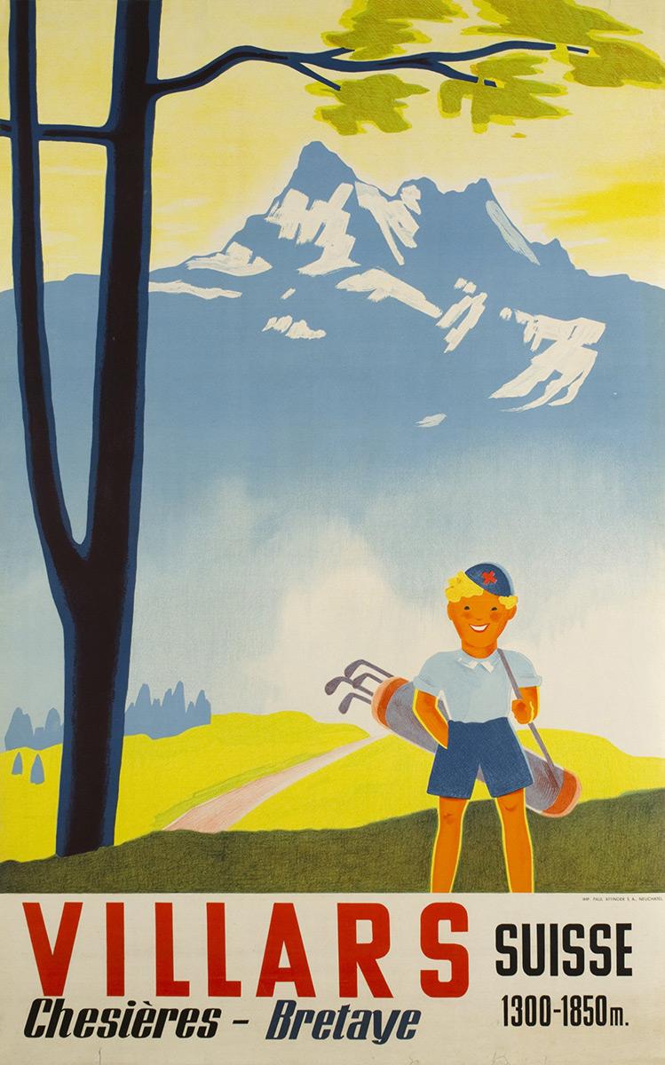 Villars Chesières-Bretaye, Suisse, 1938. Lithographie couleur 101 x 64cm. © Tous droits réservés, auteur anonyme, impression Paul Attinger, Neuchâtel. Galerie 1 2 3, Genève, www.galerie123.com