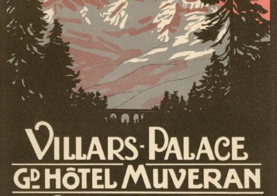 Villars Palace, GD Hôtel Muveran, Hôtel Bellevue, 1913. Etiquette en lithographie, 15 x 12cm. Rodolphe Michaud (1891-1944), lithographie A. Trüb et Cie, Lausanne & Aarau. Galerie 1 2 3, www.galerie123.com