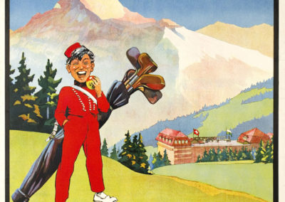 Villars-Sports, Villars Palace, Gd Hôtel Muveran, Hôtel Bellevue, 1925. Walter von May (1876 - 1942), lithographie 102 x 73cm. Galerie 1 2 3, Genève. www.galerie123.ch