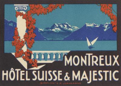 Etiquette de bagage. Hôtel Suisse & Majestic, Montreux