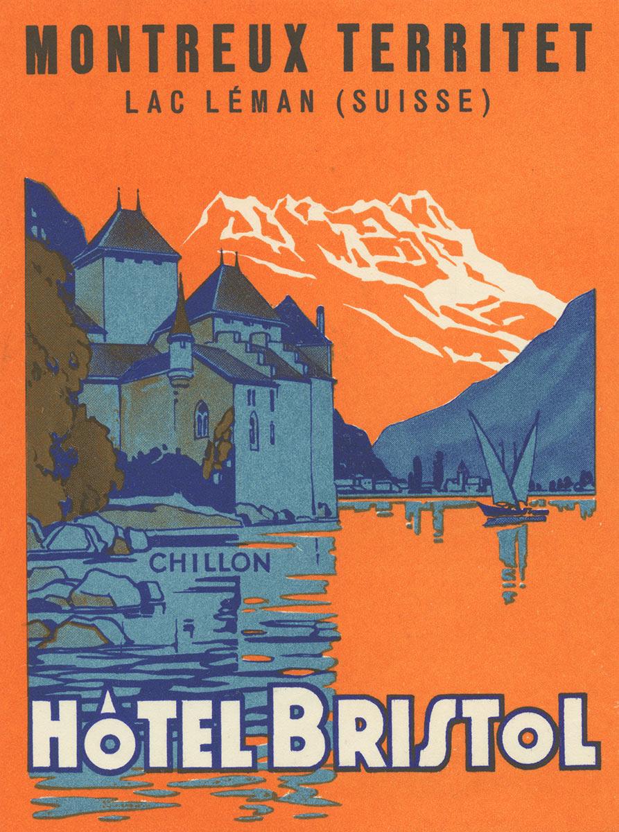 Etiquette de bagage. Hôtel Bristol, Montreux - Territet, Lac Léman (Suisse)