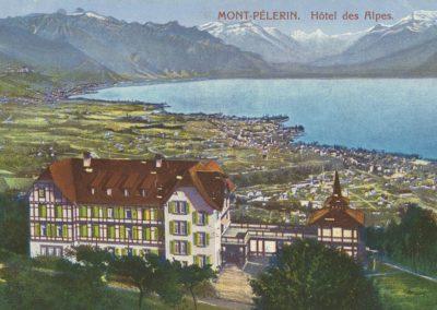 Mont-Pélerin. Hôtel des Alpes. © Bazar Suisse, P. Seiler, Mont-Pélerin. Carte datée de septembre 1915