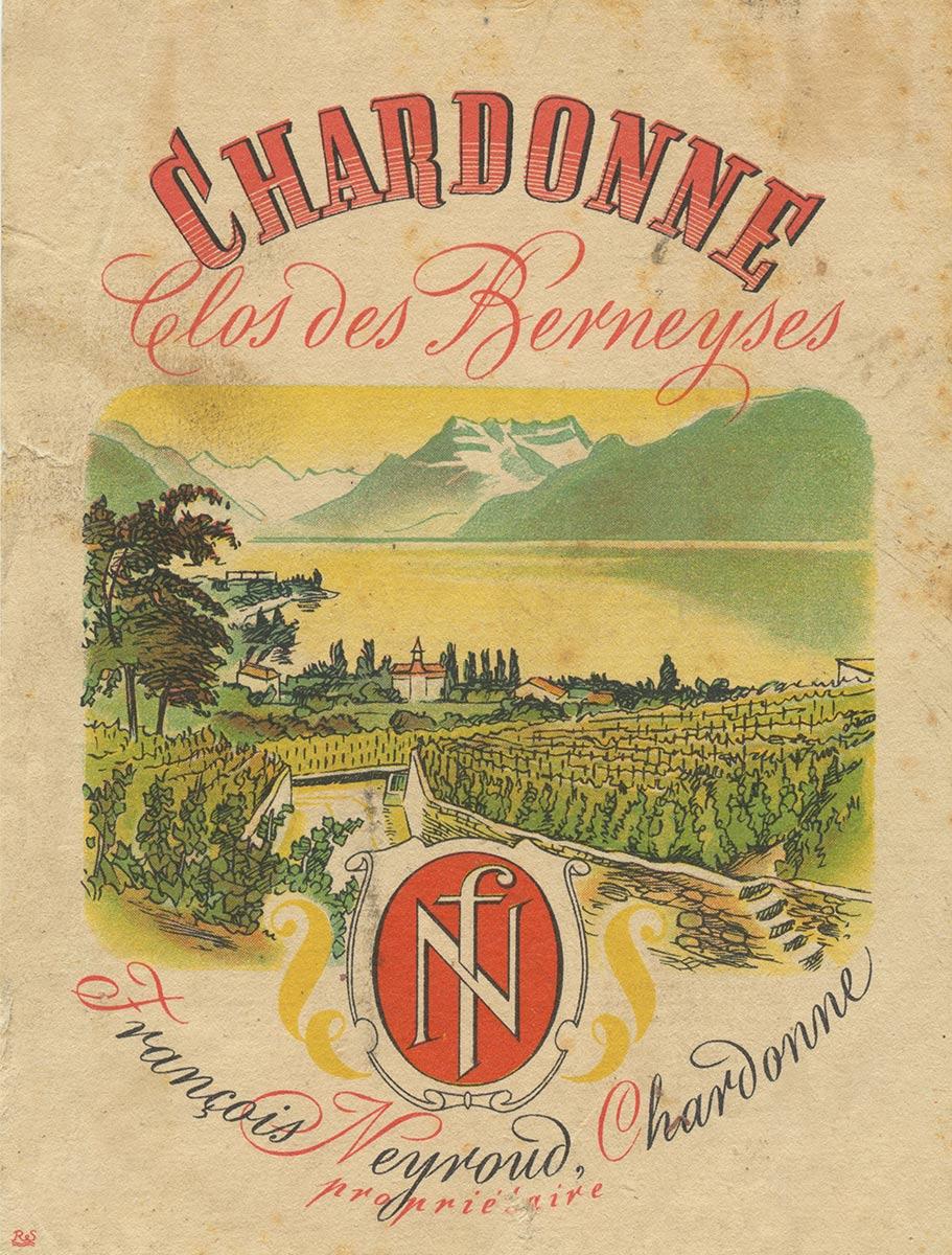 Etiquette de vin. Chardonne, Clos des Berneyses