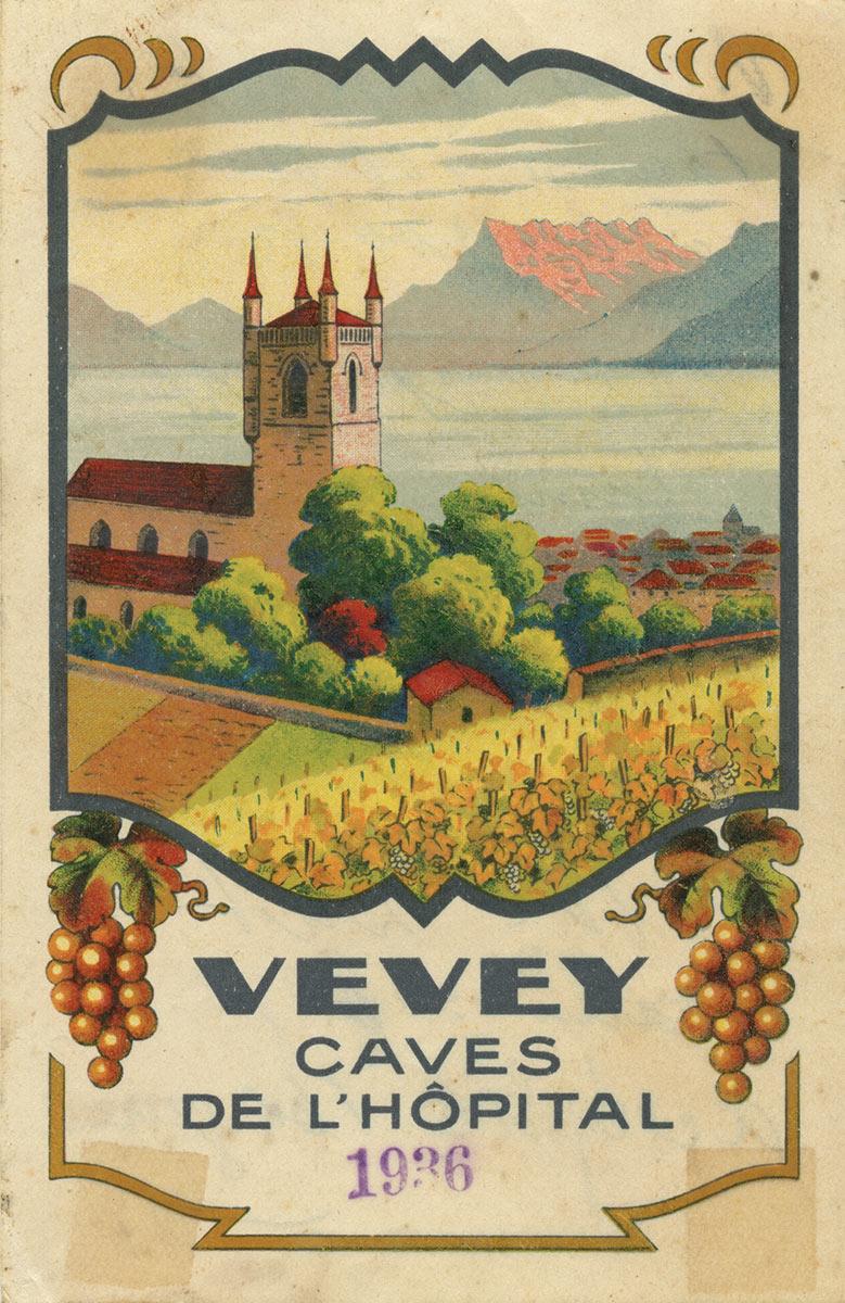 Etiquette de vin. Vevey, caves de l'hôpital