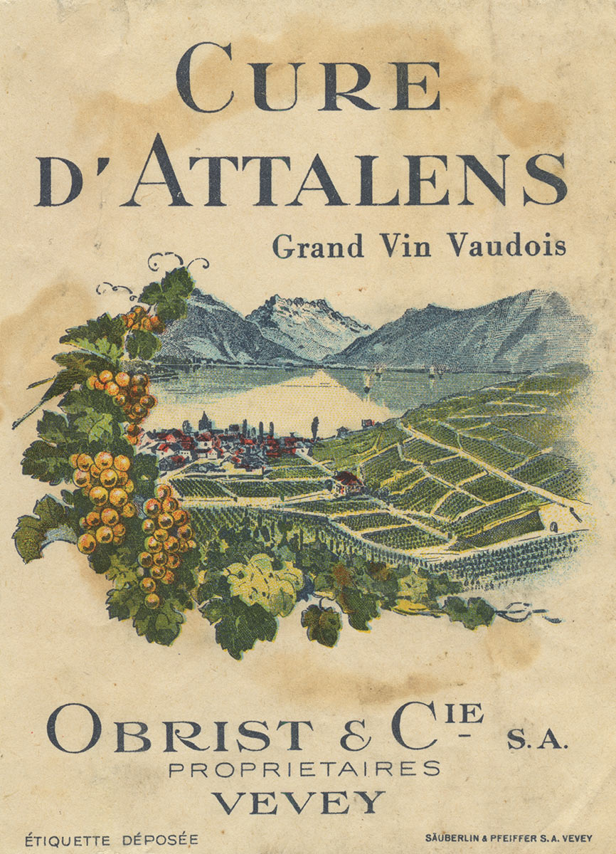 Etiquette de vin. Cure d'Attalens