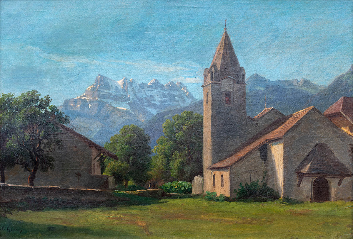 Jean-Philippe George (1818 - 1888), huile sur toile 32 x 47cm. Galerie de la Tine, Troistorrents