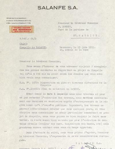 Lettre de la Salanfe S.A. au sujet de la construction de la chapelle de Salanfe, 1953. © Archives de l'Abbaye de Saint-Maurice
