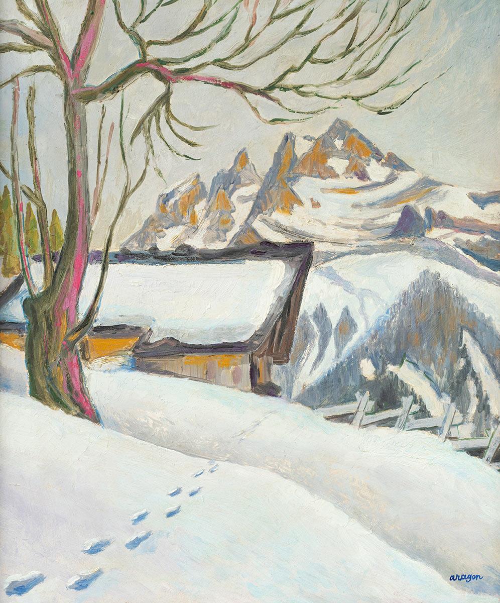 """Henri Aragon (1909 - 2001). """"Champéry. Les Dents-du-Midi depuis le chemin du Col de Coux"""", huile sur toile 45 x 37cm, 1941-1986. Galerie de la Tine, Troistorrents"""