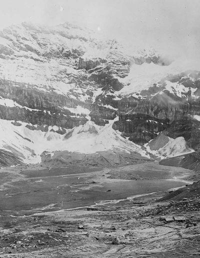 Glaciers suspendus et régénérés des tours Sallières et plaine de Salanfe, juin 1898. Impression papier 12 x 17cm. © Maurice Lugeon (1870-1953). ETH-Bibliothek, Zürich