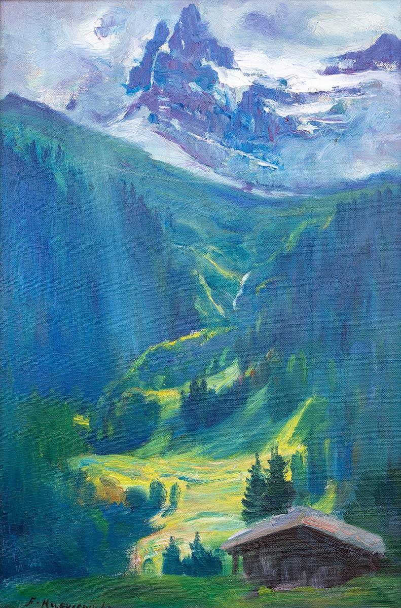 Fritz Huguenin (-Lassauguette) (1842 - 1926), huile sur toile 40 x 26cm. Galerie de la Tine, Troistorrents