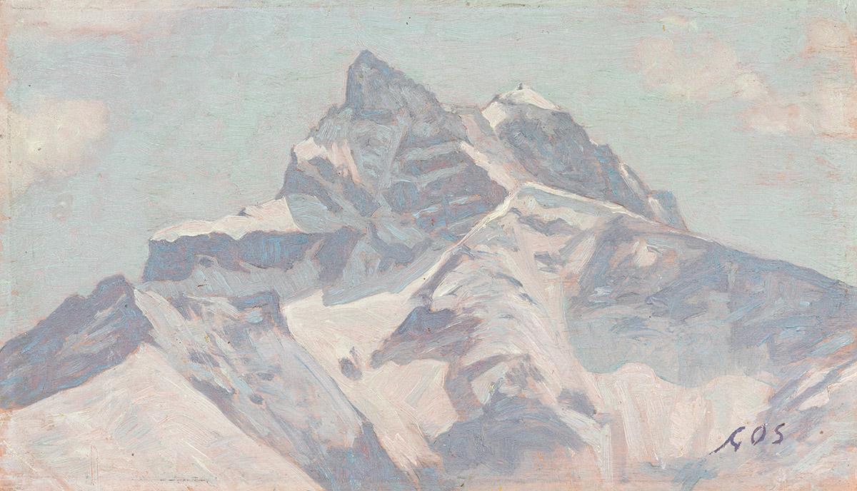 Albert Gos (1852 - 1942), huile sur toile 16 x 28cm. Galerie de la Tine, Troistorrents