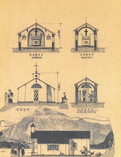 Plan de la construction de la chapelle de Salanfe, 1953. © Archives de l'Abbaye de Saint-Maurice