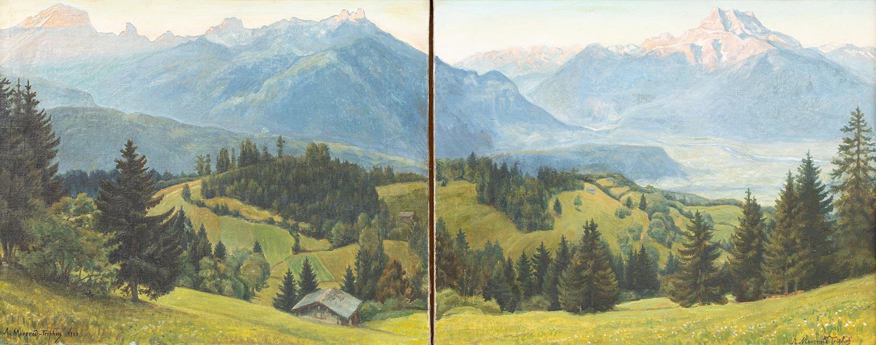 """Albert Morerod-Triphon (1871 - 1948). """"Les Alpes depuis au-dessous de Huémoz"""", huile sur toile 49 x 120cm, 1920. Galerie de la Tine, Troistorrents"""