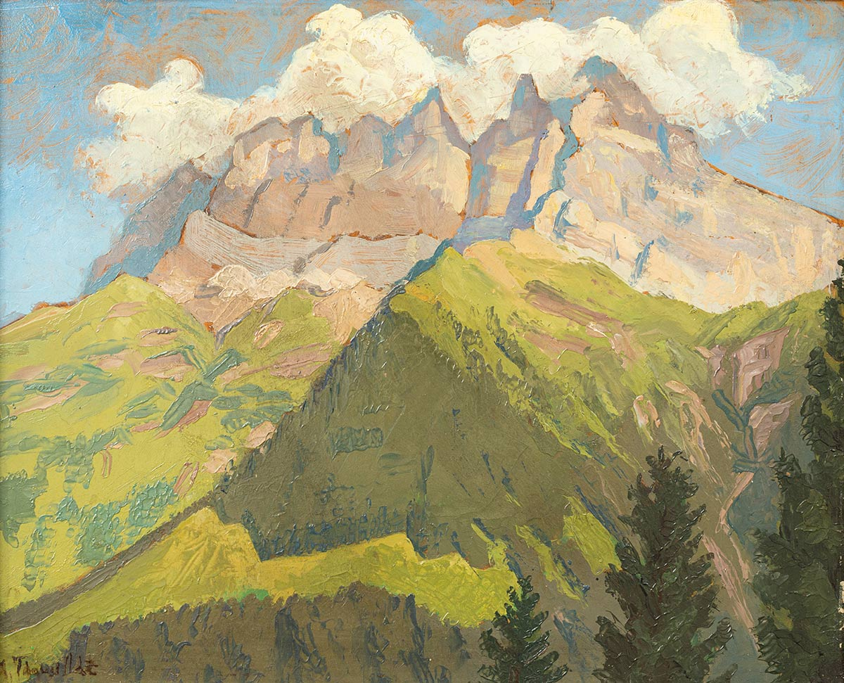 Albert Theurillat (? - ?), huile sur toile 41 x 37cm. Galerie de la Tine, Troistorrents