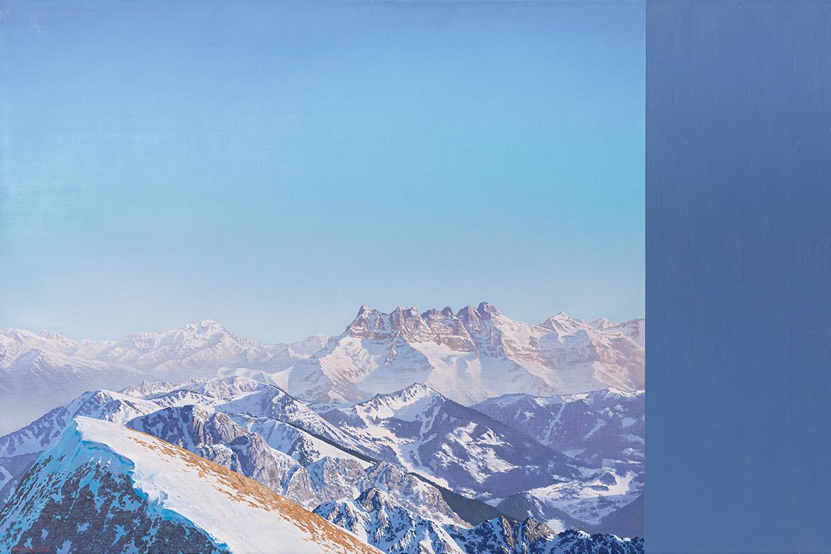 Michel Kozuck. Les Dents-du-Midi, huile sur toile 70 x 110cm. Galerie de la Tine, Troistorrents. © Photo Fabrice Ducrest