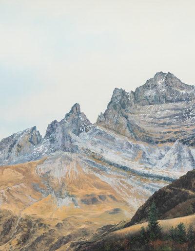 Les Dents-du-Midi, huile sur toile 80 x 120cm