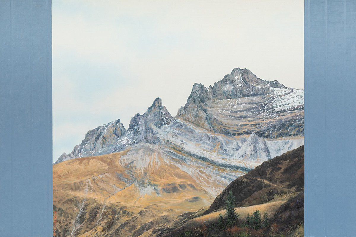 Michel Kozuck. Les Dents-du-Midi, huile sur toile 80 x 120cm. Galerie de la Tine, Troistorrents. © Photo Fabrice Ducrest