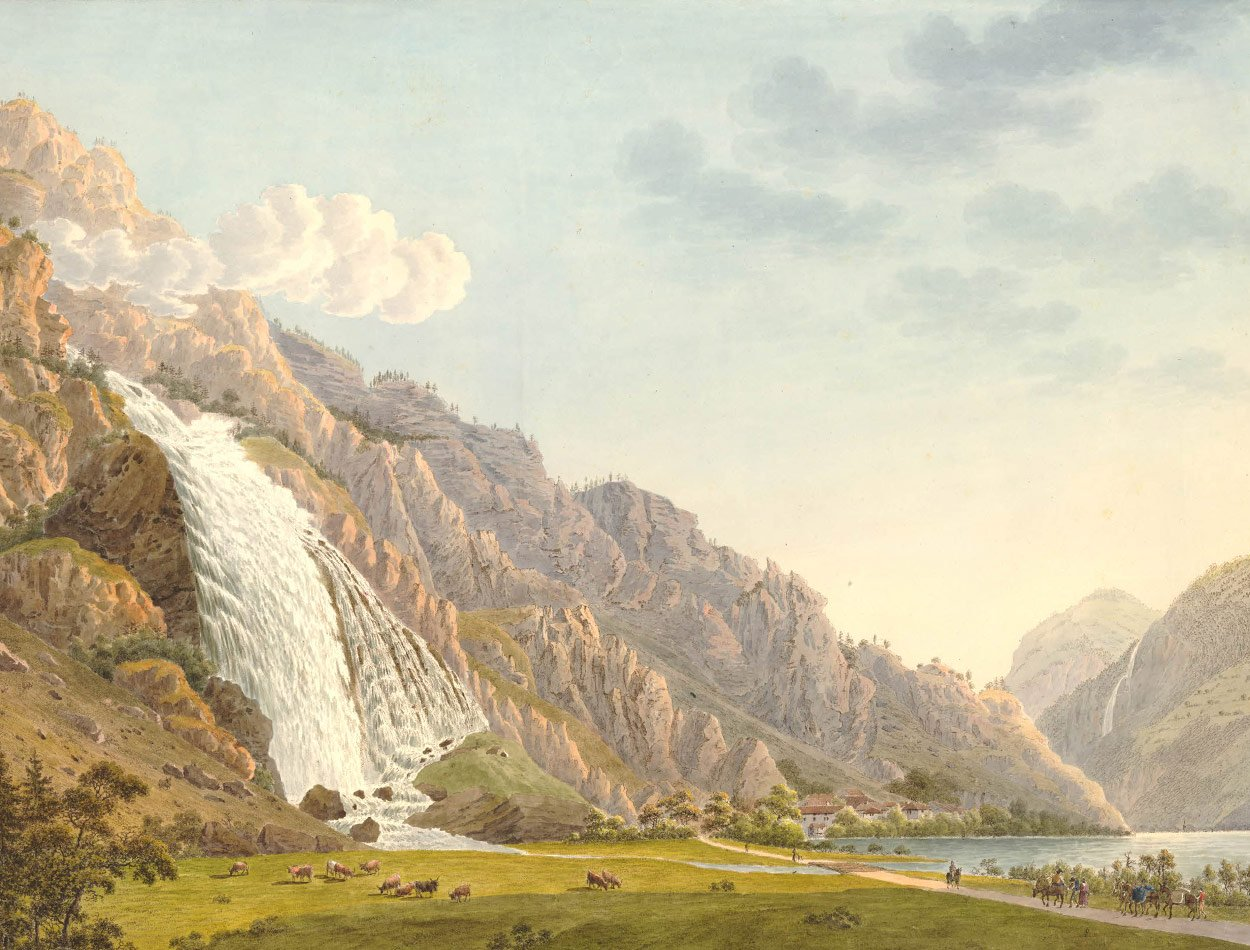 La Cascade de Pisse Vache dans le Bas Vallais, 1800. Papier 472 x 628mm. Samuel Weibel (1771-1846). © The Trustees of the British Museum
