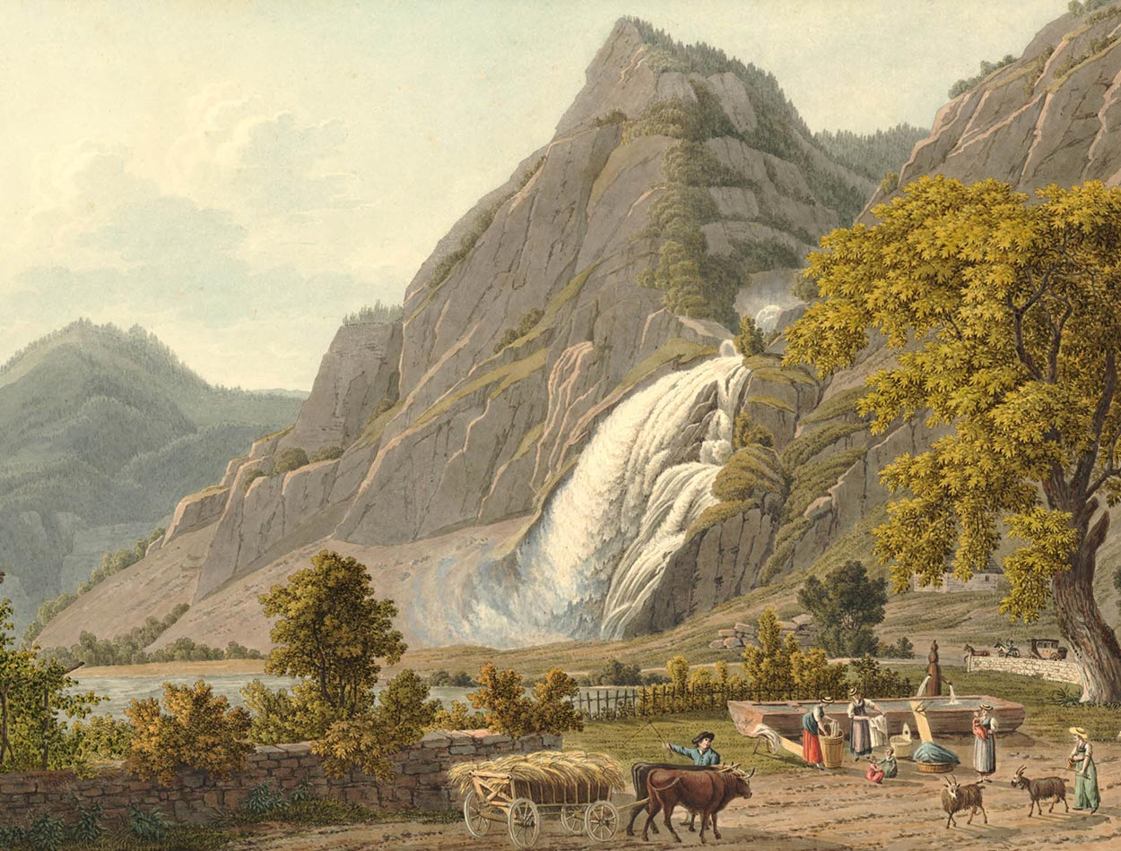 La Cascade de Pissevache, vers 1810-1820. Papier 436 x 475mm. Samuel Frey (1785-1836). © The Trustees of the British Museum