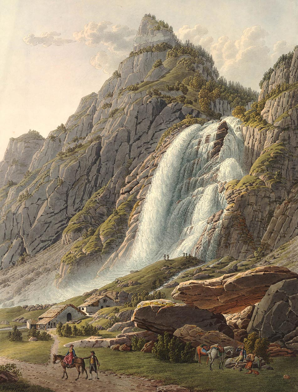 Vue de la Cascade de Pissevache, 1820. Papier 636 x 473mm. Gabriel Lory fils (1784-1846). © The Trustees of the British Museum