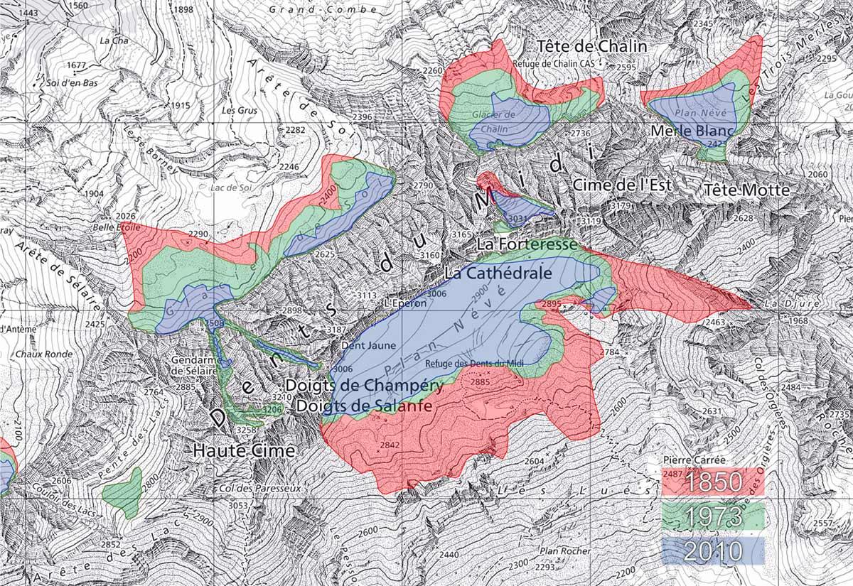 Etat des glacier des Dents-du-Midi en 1850, 1973 et 2010