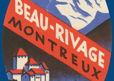 Etiquette de bagage de l'hôtel Beau-Rivage à Montreux (Suisse)