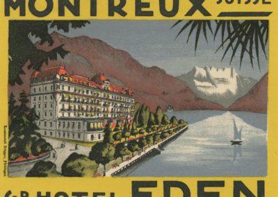 Etiquette de bagage. Grand Hôtel Eden de Montreux (Suisse)