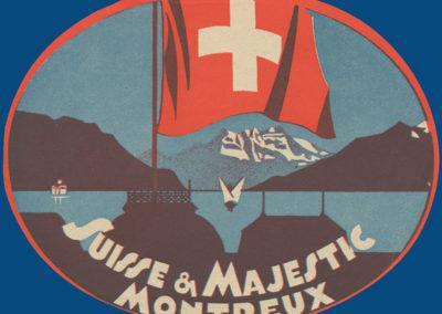 Etiquette de bagage. Hôtels Suisse & Majestic, Montreux
