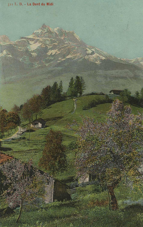 La Dent du Midi. © L. Butner, phot. édit., Villars Chesières. Carte datée de juillet 1917