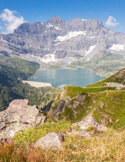 Le barrage de Salanfe depuis le Col du Jorat (2212m.). © Fabrice Ducrest