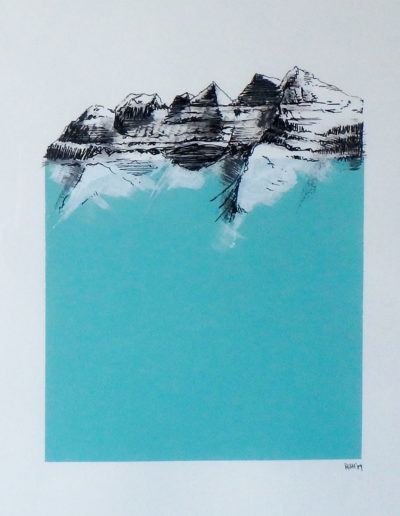 Les Dents-du-Midi par Rit Herfs, acrylique et plume sur toile. © Rit Herfs