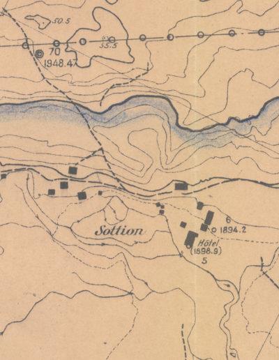 Détail sur la répartition des bâtiments du plateau de Salanfe, octobre 1950. © Archives de l'Abbaye de Saint-Maurice