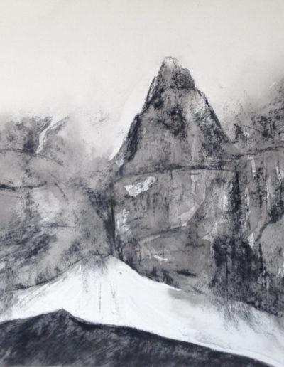 Au pied du névé (encre + fusain sur papier 70 x 50cm), 2016
