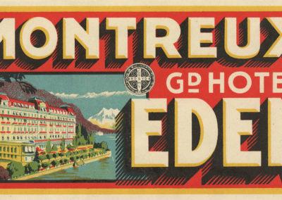 Etiquette de bagage, Montreux, Grand Hôtel EDEN