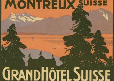 Etiquette de bagage. Grand Hôtel Suisse, Montreux, Suisse
