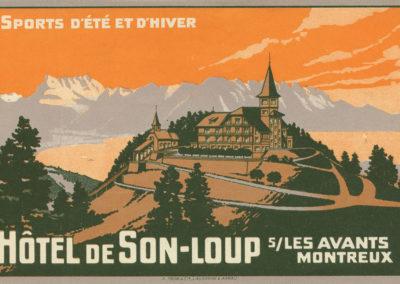 Etiquette de bagage. Hôtel de Sonloup s/les Avants, Montreux. Sports d'été et d'hiver
