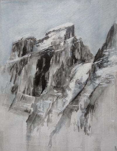 La Cathédrale (encre + gesso sur carton 50 x 40cm), 2019