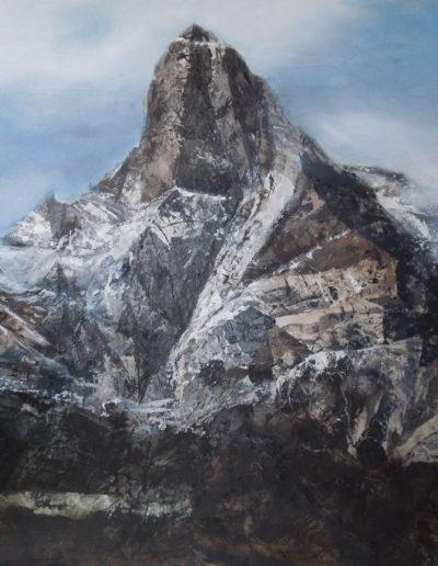 La Cime-de-l'Est (collage + huile sur toile 70 x 50cm), 2013