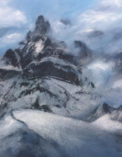 La Cime-de-l'Est (encre + huile 50 x 70cm), 2014