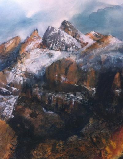 Les Dents-du-Midi (collage + huile sur toile 120 x 80cm), 2013