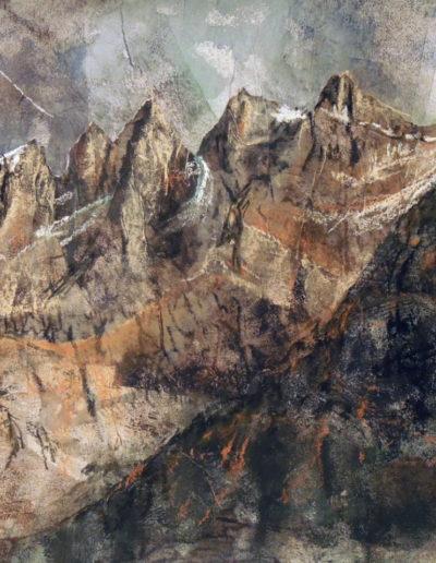 Les Dents-du-Midi (collage + pastel sur papier 70 x 50cm), 2012