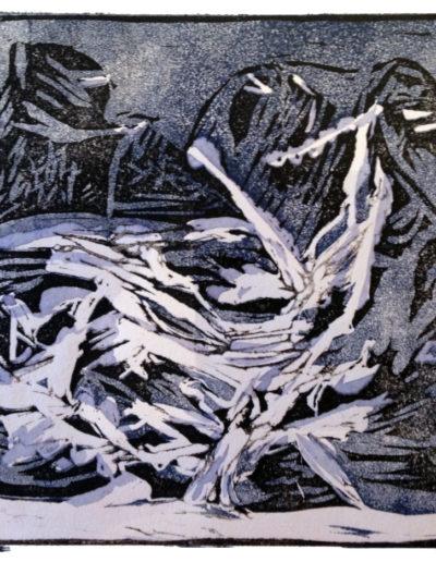 Les Dents-du-Midi (gravure linoleum sur papier 20 x 15cm), 2017