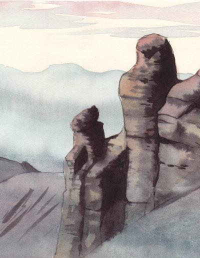 Sur les pas de la Haute-Cime (aquarelle sur papier 37 x 27cm), 2009
