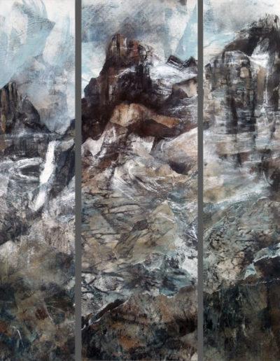 Triptique sur les Dents-du-Midi (collage + pastel sur toile 3 x 90 x 30cm), 2012