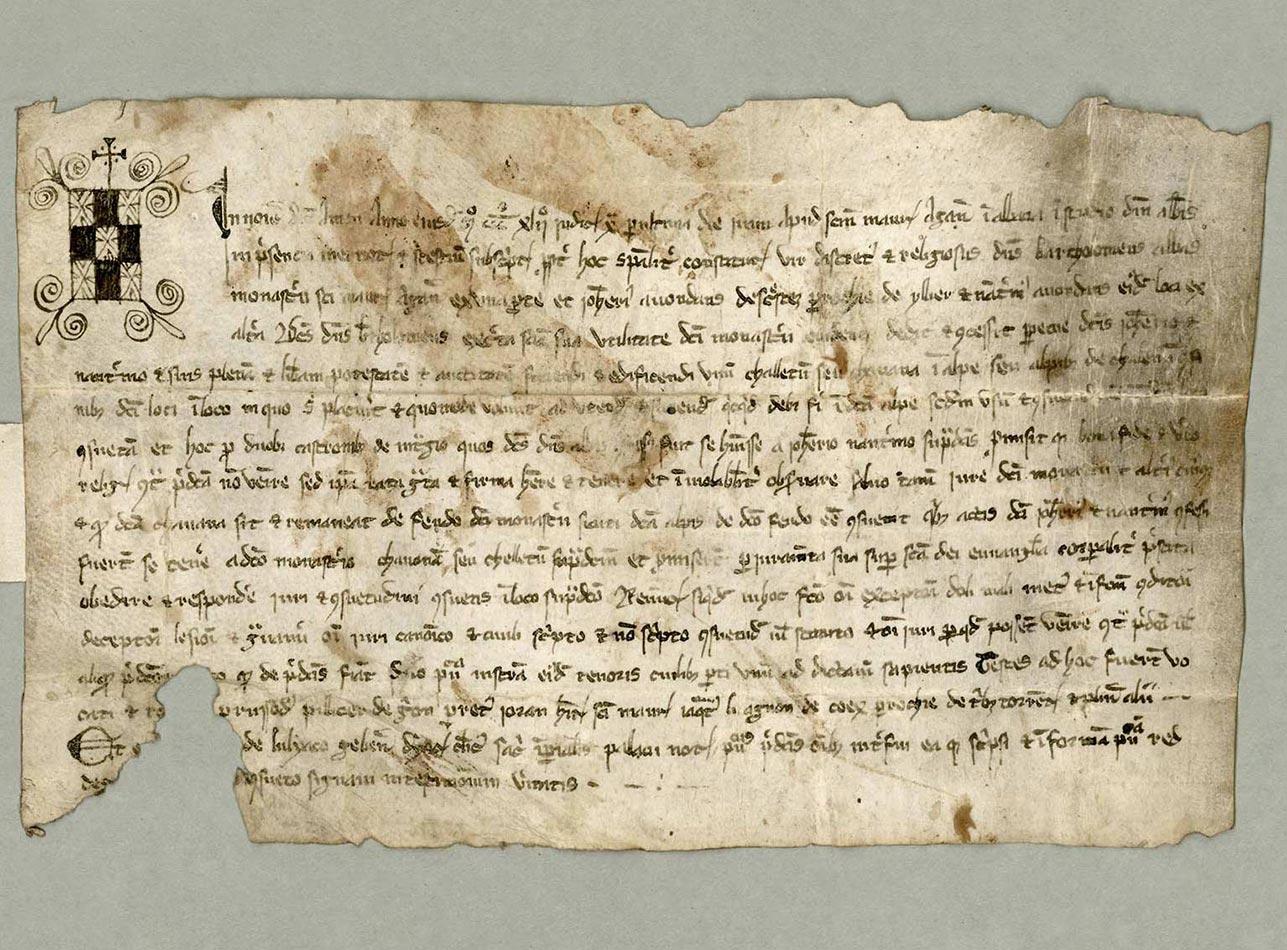 Lignes 2 et 3, première mention écrite des Dents-du-Midi, 1342. L'abbé Barthélémi (Barthélemy) permet à deux particuliers des Cretes (Les Crêtes), paroisse d'Illiés (d'Illiez), de bâtir un chalet dans l'alpe de Challent (Chalin). © Archives de l'Abbaye de Saint-Maurice