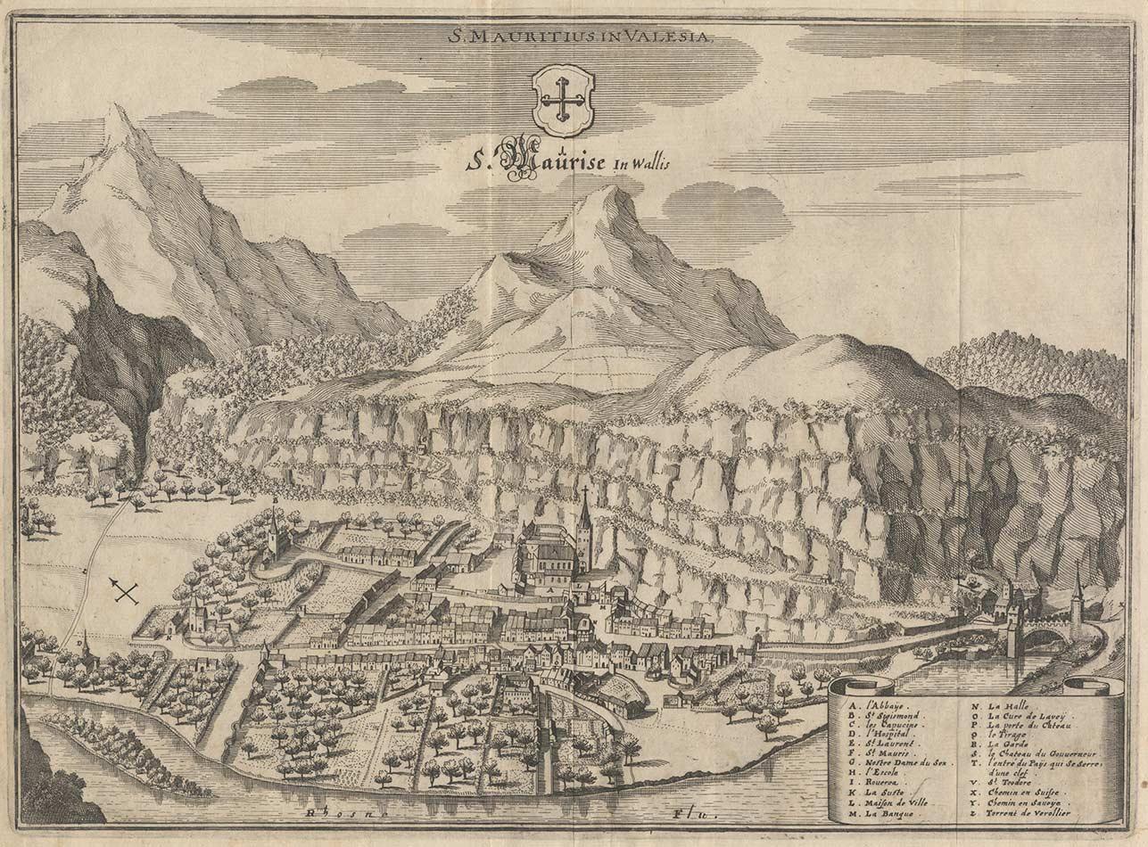 Saint-Maurice par Matthaeus Merian, 1642. Première représentation des Dents-du-Midi
